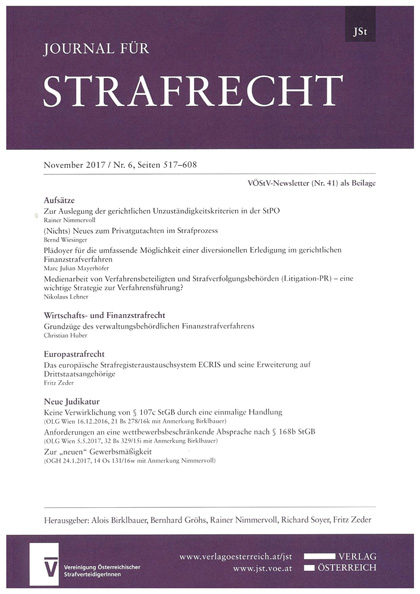Journal für Strafrecht - November 2017 / Nr.6